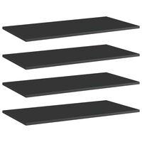 "vidaXL Bookshelf Boards 4 pcs High Gloss Black 31.5""x15.7""x0.6"" Chipboard"