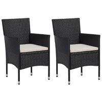 vidaXL Garden Dining Chairs 2pcs Poly Rattan Black