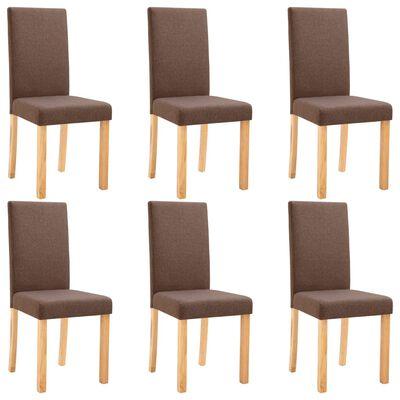 vidaXL Dining Chairs 6 pcs Brown Fabric