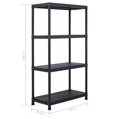 "vidaXL Storage Shelf Rack Black 220.5 lb 23.6""x11.8""x54.3"" Plastic"