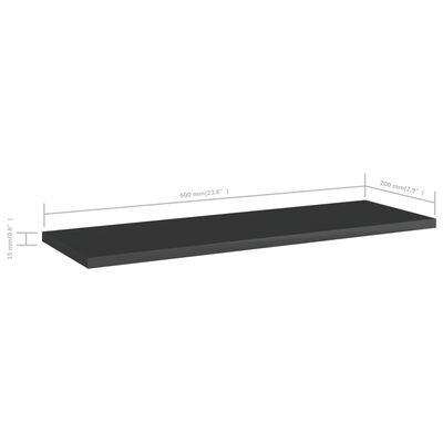 "vidaXL Bookshelf Boards 8 pcs High Gloss Black 23.6""x7.9""x0.6"" Chipboard"