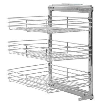"vidaXL 3-Tier Pull-out Kitchen Wire Basket Silver 18.5""x13.8""x22"""