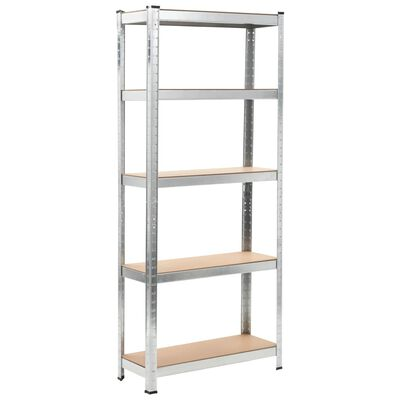 "vidaXL Storage Shelves 3 pcs Silver 29.5""x11.8""x67.7"" Steel and MDF"