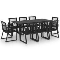 vidaXL 9 Piece Outdoor Dining Set PVC Rattan Black