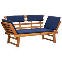 "vidaXL Garden Bench with Cushions 2-in-1 75"" Solid Acacia Wood"