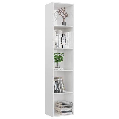 "vidaXL Book Cabinet High Gloss White 15.7""x11.8""x74.4"" Chipboard"