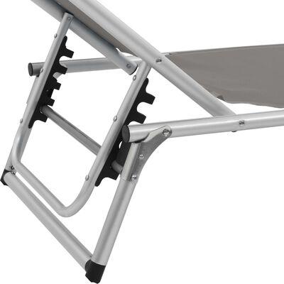 vidaXL Folding Sun Lounger with Roof Aluminium and Textilene Gray