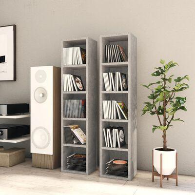 "vidaXL CD Cabinets 2 pcs Concrete Gray 8.3""x6.3""x36.8"" Chipboard"