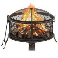 "vidaXL Rustic Fire Pit with Poker 26.6 XXL Steel"""