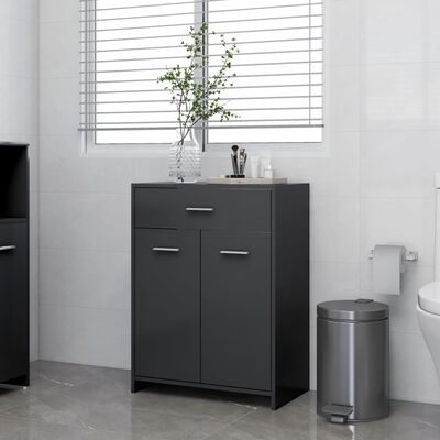 "vidaXL Bathroom Cabinet Gray 23.6""x13""x31.5"" Chipboard"