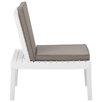 vidaXL Garden Lounge Chair with Cushion Plastic White