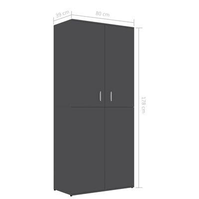 "vidaXL Shoe Cabinet Gray 31.5""x15.4""x70.1"" Chipboard"