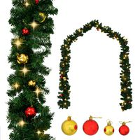 vidaXL Christmas Garland with Baubles and LED Lights Green 32.8' PVC