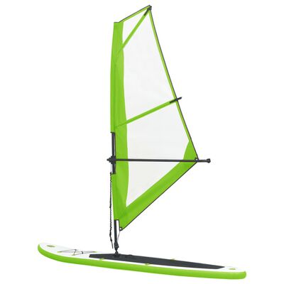 vidaXL Inflatable Stand Up Paddleboard with Sail Set Green and White