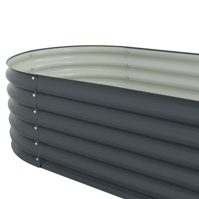 """vidaXL Garden Raised Bed 157.5""""x31.5""""x17.3"""" Galvanised Steel Gray"""