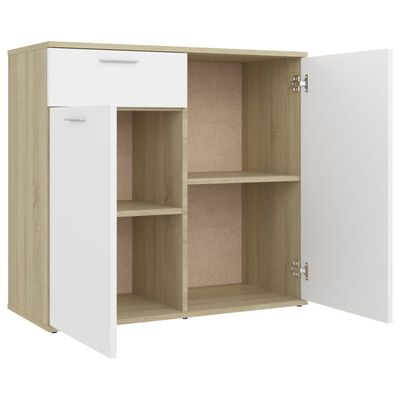 "vidaXL Sideboard White and Sonoma Oak 31.5""x14.2""x29.5"" Chipboard"