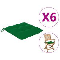 "vidaXL Chair Cushions 6 pcs Green 15.7x15.7""x2.8"" Fabric"""