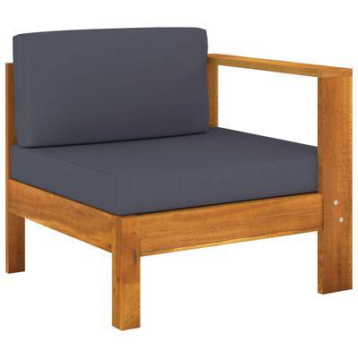 vidaXL 9 Piece Garden Lounge Set with Dark Gray Cushions Acacia Wood