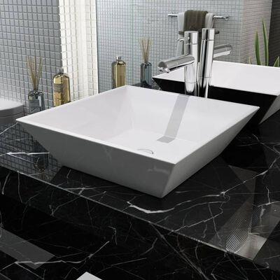 """vidaXL Basin Square Ceramic White 16.3""""x16.3""""x4.7"""""""