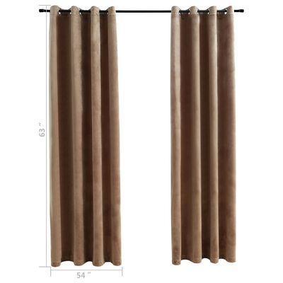 "vidaXL Blackout Curtains with Rings 2 pcs Beige 54""x63"" Velvet"