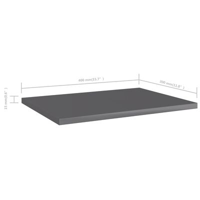 "vidaXL Bookshelf Boards 8 pcs High Gloss Gray 15.7""x11.8""x0.6"" Chipboard"