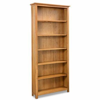 "vidaXL 6-Tier Bookcase 31.5""x8.9""x70.9"" Solid Oak Wood"