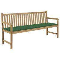 "vidaXL Garden Bench with Green Cushion 68.9"" Solid Teak Wood"