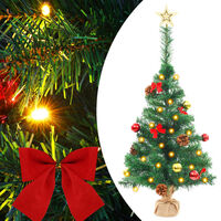 """vidaXL Artificial Christmas Tree with Baubles and LEDs Green 25.2"""""""