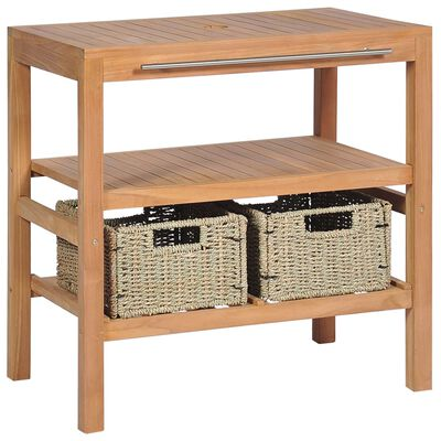 "vidaXL Bathroom Vanity Cabinet with 2 Baskets Solid Teak 29.1""x17.7""x29.5"""