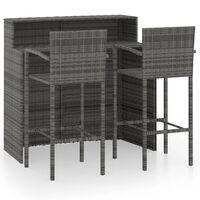 vidaXL 3 Piece Garden Bar Set Gray
