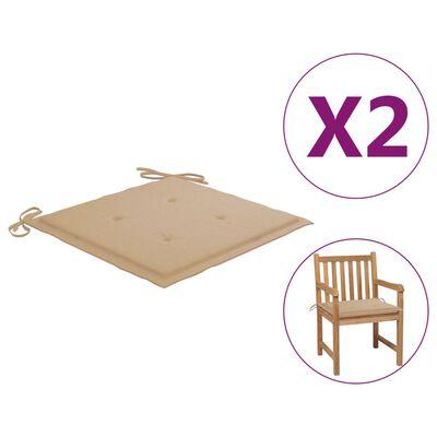 "vidaXL Garden Chair Cushions 2 pcs Beige 19.7""x19.7""x1.6"""