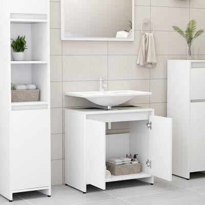 "vidaXL Bathroom Cabinet White 23.6""x13""x22.8"" Chipboard"