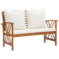 "vidaXL Garden Bench with Cushions 46.9"" Solid Acacia Wood"