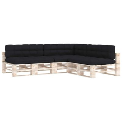 vidaXL Pallet Sofa Cushions 7 pcs Black