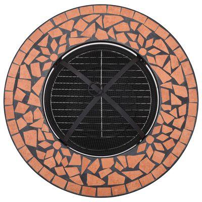 "vidaXL Mosaic Fire Pit Table Terracotta 26.8"" Ceramic"