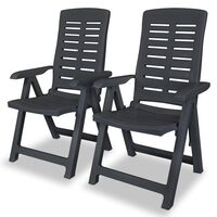 vidaXL Reclining Garden Chairs 2 pcs Plastic Anthracite
