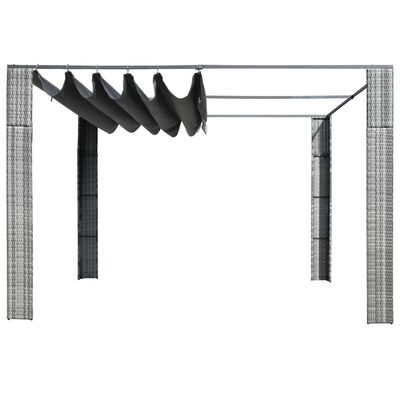 """vidaXL Gazebo with Roof Poly Rattan 118.1""""x118.1""""x78.7"""" Gray and Anthracite"""