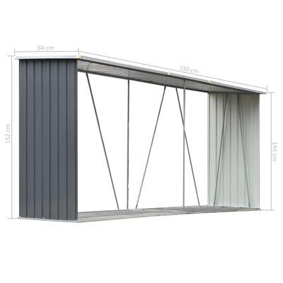 "vidaXL Garden Log Storage Shed Galvanized Steel 130""x33""x60"" Gray"