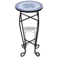 vidaXL Mosaic Side Table Plant Table Blue White