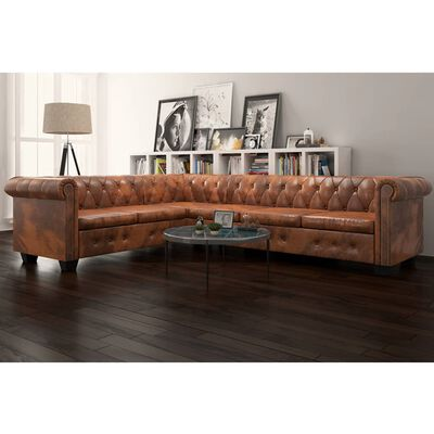 vidaXL Chesterfield Corner Sofa 6-Seater Brown Faux Leather