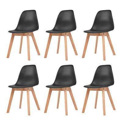 vidaXL Dining Chairs 6 pcs Black Plastic