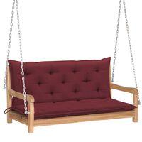 "vidaXL Swing Bench with Wine Red Cushion 47.2"" Solid Teak Wood"