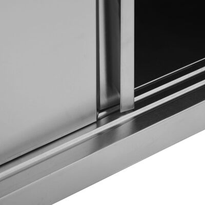 """vidaXL Kitchen Wall Cabinet with Sliding Doors 47.2""""x15.7""""x19.7"""" Stainless Steel"""