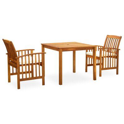 vidaXL 3 Piece Garden Dining Set with Cushions Solid Acacia Wood