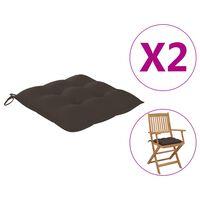 "vidaXL Chair Cushions 2 pcs Taupe 15.7x15.7""x2.8"" Fabric"""
