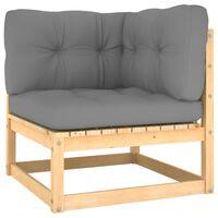 vidaXL Garden Corner Sofa with Gray Cushions Solid Pinewood