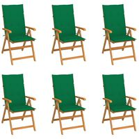 vidaXL Garden Chairs 6 pcs with Green Cushions Solid Teak Wood