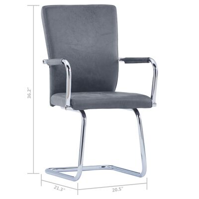 3052996 vidaXL Cantilever Dining Chairs 6 pcs Gray Faux Suede Leather