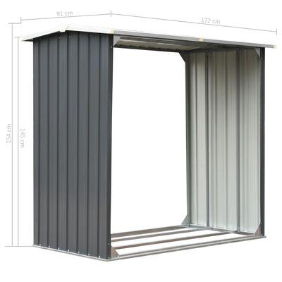 "vidaXL Garden Log Storage Shed Galvanized Steel 67.7""x35.8""x60.6"" Gray"
