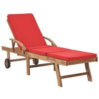 vidaXL Sun Lounger with Cushion Solid Teak Wood Red
